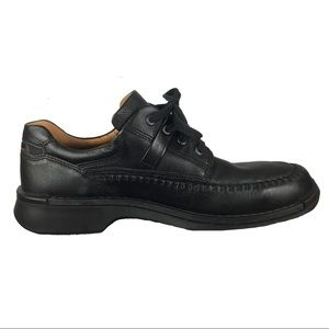 ECCO Black Leather Lace Up Loafers Shoes Men's 10